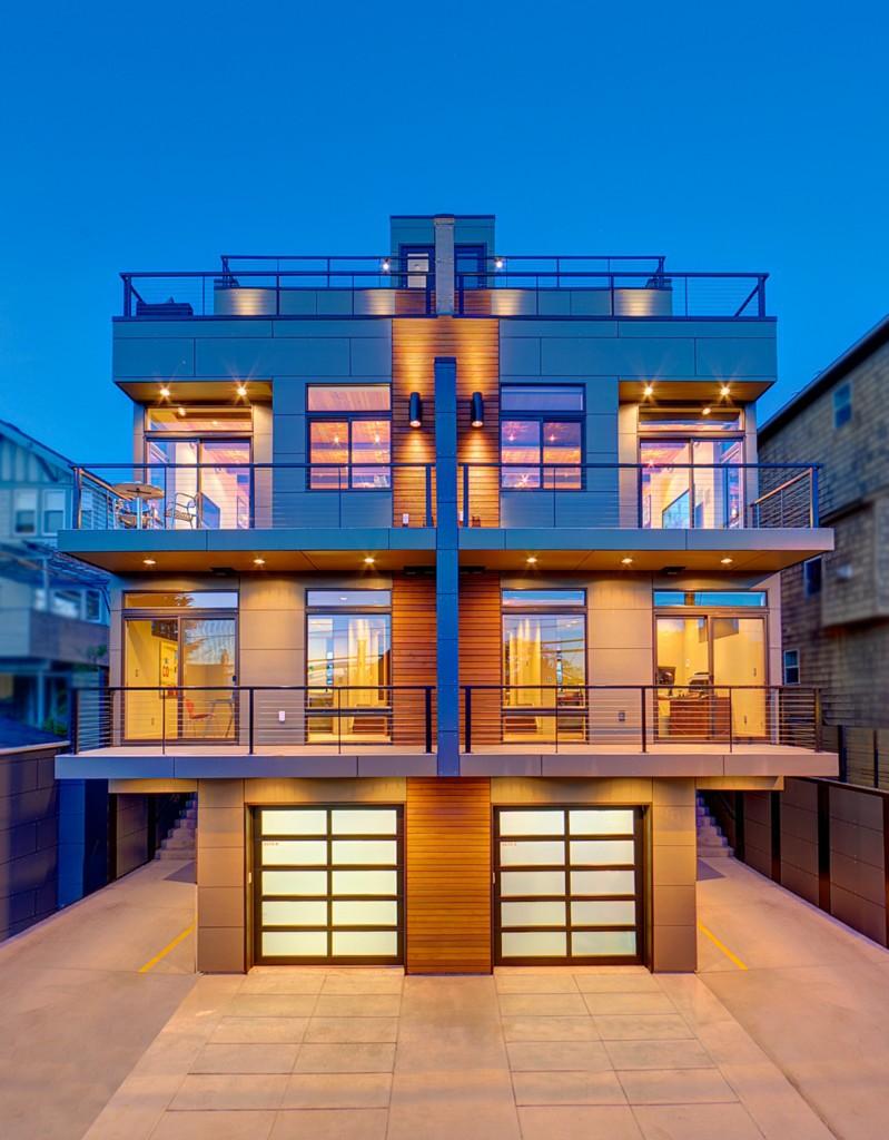 Brand new modern eastlake townhouse urban living for Townhouse modern design exterior